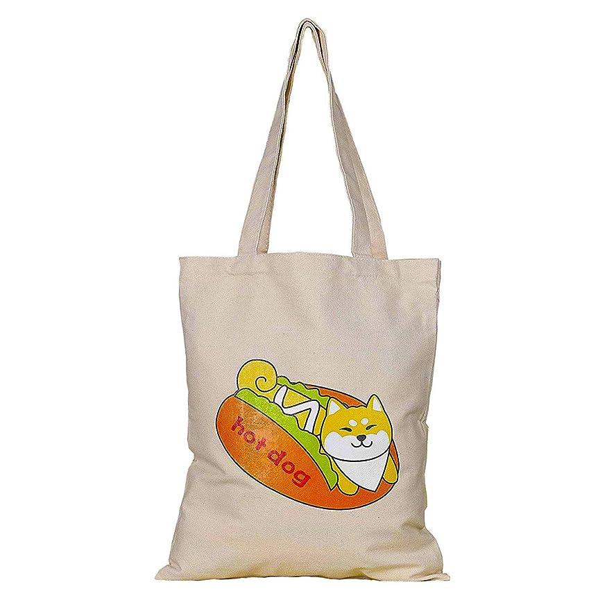 デイジー追記輪郭[日本]- 柴犬 キャンバストート 棉 とーとーバッグ ポーチ バッグ A4対応 レディース メンズ 学生 男女両用