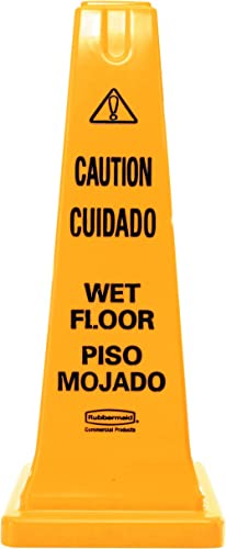 """Rubbermaid Commercial Safety Cone 25"""" """"Caution Wet Floor"""", (FG627777YEL)"""