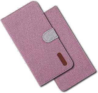 MRSTER Funda para Samsung Galaxy J2 Pro 2018 Carcasa Libro de Cuero Ultra Delgado Billetera Cartera con Función de Soporte Case Flip Cover para Samsung Galaxy J2 Pro 2018. Cloth Pink