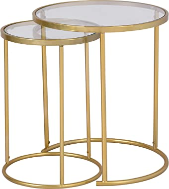 FirsTime & Co. Stark Gold Nesting End Table 2-Piece Set, American Crafted, Gold, 18 x 18 x 21 ,
