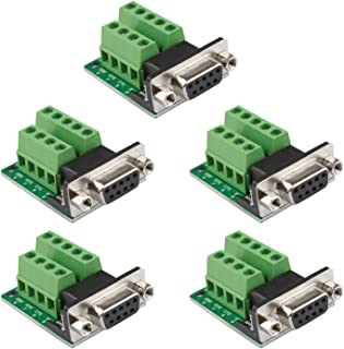 Futheda - 5 conectores de placa de conexión D-sub DB9 de 9 pines, 2 filas hembra, puerto serie RS-232, adaptador de bloque de terminales sin soldadura con tuercas de posicionamiento