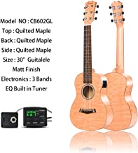 Left Handed - Caramel 6 Strings CB602GL All Quilted Maple Acoustic Ukulele Guitalele with Truss Rod