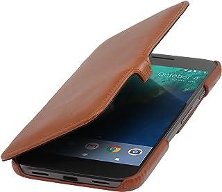 StilGut Book Type Case, Funda de Piel auténtica con Smart Cover función para su Google Pixel XL con Cierre Clip. Flip Case de Cuero para su Original Google Pixel XL, Cognac