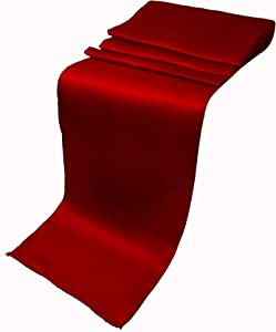 ELINA'S Pack of 20 Wedding 12 x 108 inch Satin Table Runner Wedding Banquet Decoration (20, Apple RED)