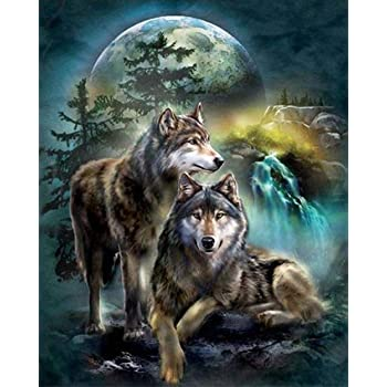 DIY Rhinestone Embroidery Full Drill Cross Stitch Arts Craft for Home Wall Decoration Wolf Dream Catcher 11.8 5D Diamond Full Painting Kit 15.7 Inches