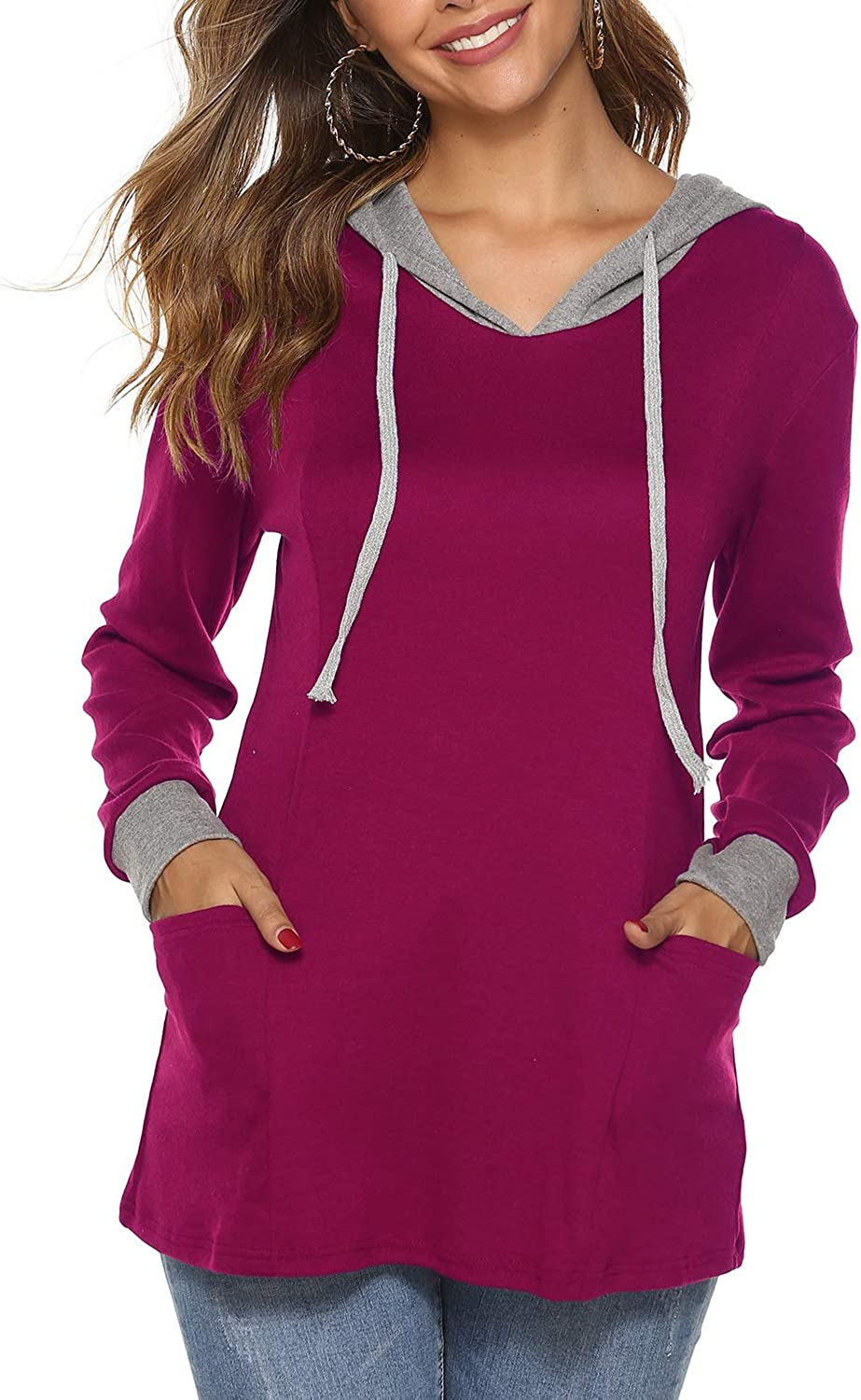 Sweetnight Women's Long Sleeve Hooded Sweatshirt Color Block Pullover Hoodies Tunic Tops with Pockets