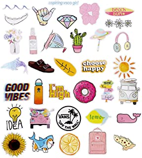 35pcs Cute VSCO Stickers for Hydro Flask  | VSCO Stuff for Girls, Teens, Kids, Women | Trendy Aesthetic Stickers for Waterbottles, Laptop, Phone, Guitar, Helmet, Skateboard Decals