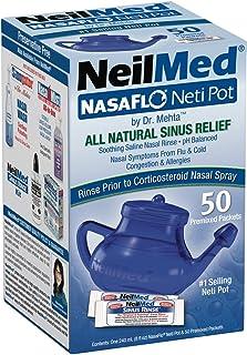 NeilMed NasaFlo Unbreakable Neti Pot with 60 Premixed Packets