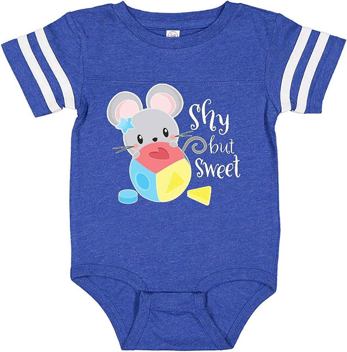 inktastic Shy But Sweet Cute Mouse with Toy Block Long Sleeve Creeper