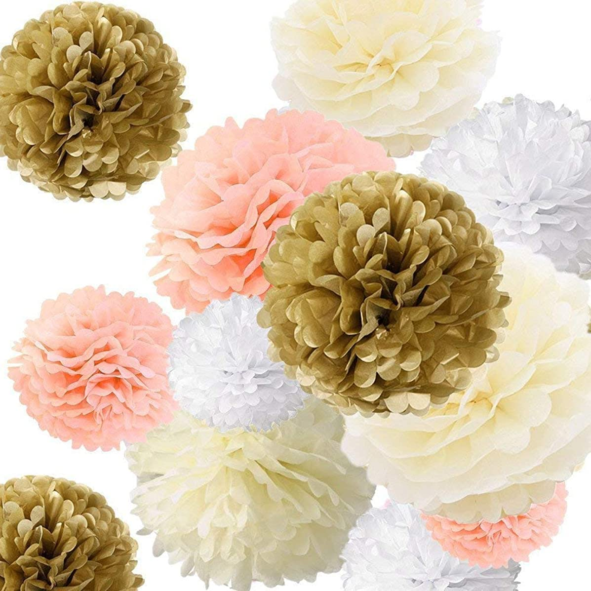 Fonder Mols Tissue Pom Paper Flowers Decorations Set for Baby Shower Birthday Wedding Bridal Shower Nursery Wall Backdrop (Champagne Peach Ivory White, Set of 24)