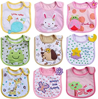 ElecMotive 9 Piece Waterproof Baby Toddler Bib Cotton 0-24 Months