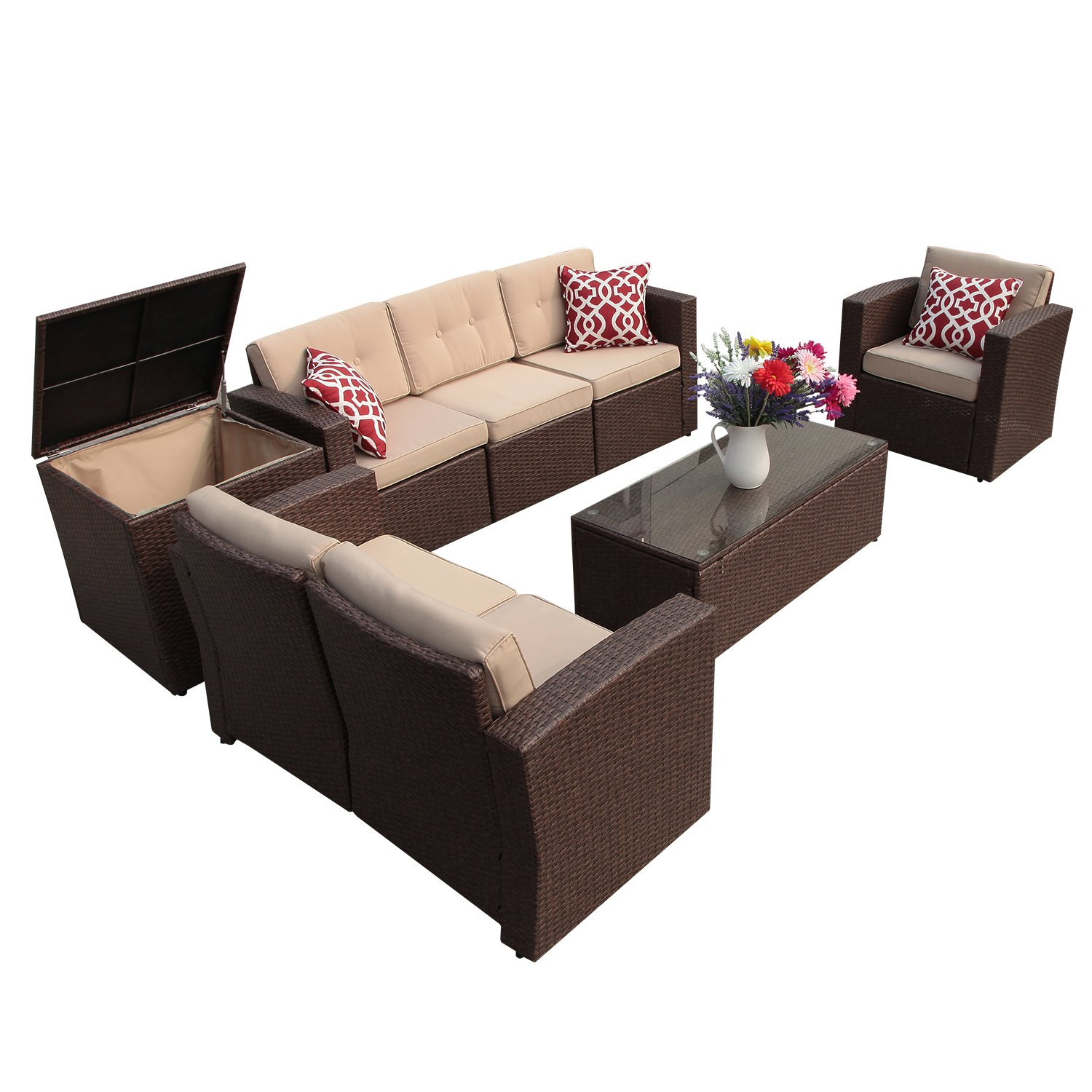 Super Patio Patio Furniture, 8 Piece Outdoor Furniture Set Wicker Sectional Furniture with Storage Table, Beige Cushions, ...