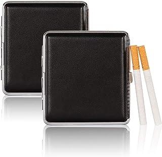 Portasigarette in pelle nera, 2 pezzi Porta Sigarette Portasigarette Metallo Portasigarette portatile con clip, Tiene fino...