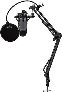 حزمة ميكروفون يو إس بي من ييتي (الشريحة) مع حامل صدمة من نوكس وحامل ستوديو وفلتر بوب (4 عناصر)