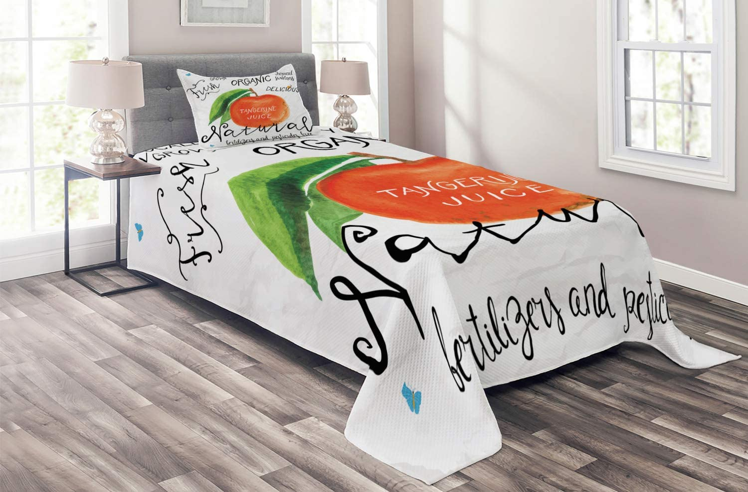 Ambesonne Tangerine Coverlet Watercolor Citrus Leaf and Fruit w Today's only Excellent