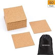 60 Pack Self-Adhesive Cork Round Squares - 4