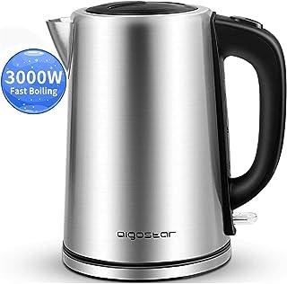 comprar comparacion Aigostar 30LDG - Hervidor de Agua Eléctrico, 3000 watios calentamiento rápido, Acero Inoxidable, Libre de BPA, Base 360º, ...