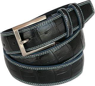 Vera Pelle ITALOITALY Unisex Effetto Usato Accorciabile Prodotto Artigianale Cintura in Cuoio Made in Italy ca 3,5 cm
