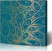 Ahawoso Canvas Prints Wall Art Printing 8x12 Green Indian Burn Doodle Peacock Feathers Pattern Nature Blue Silhouette Bird Paisley Eye Phoenix Painting Artwork Home Living Room Office Bedroom Dorm