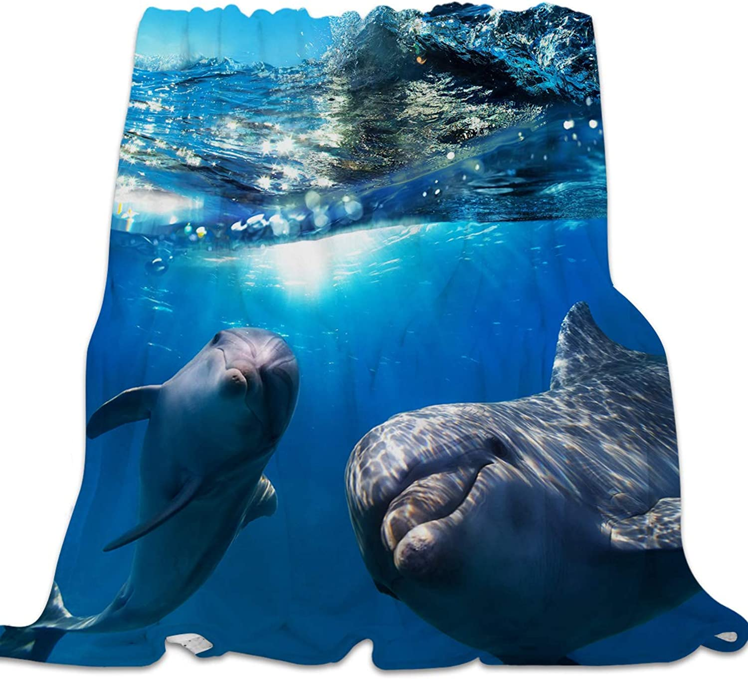YEHO Art Gallery 39x49 Inch Flannel Fleece Bed Blanket Soft Throw-Blankets for Girls Boys,Cute 3D Dolphins Submarine World,Lightweight Warm Kids Blankets for Bedroom Living Room Sofa Couch Home Decor