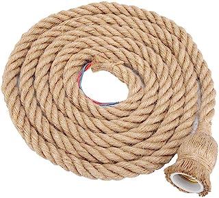 Mumusuki El Mejor Precio 2m E27 Vintage Hemp Cuerda Luz de Techo Base Lámpara Colgante Bulbo Holder 85-265V(L)