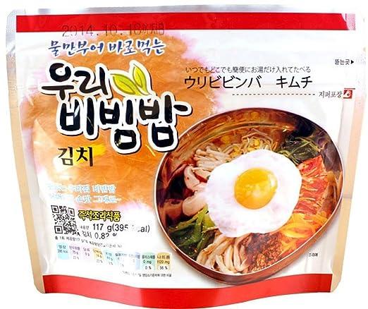 Amazon Com Woori S Ready To Eat Bibimbap Korean Mixed Rice Bowl100g 3 53oz 335 Kcal Kimchi 2 Pack Grocery Gourmet Food