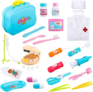 Zooawa Medical Dentist Pretend Play Set, [26PCS] Doctor and Nurse Role Play Kits Dress-Up and Educational Toys with Handy Carrying Case for Kids and Toddlers Over 3 Years Old - Colorful