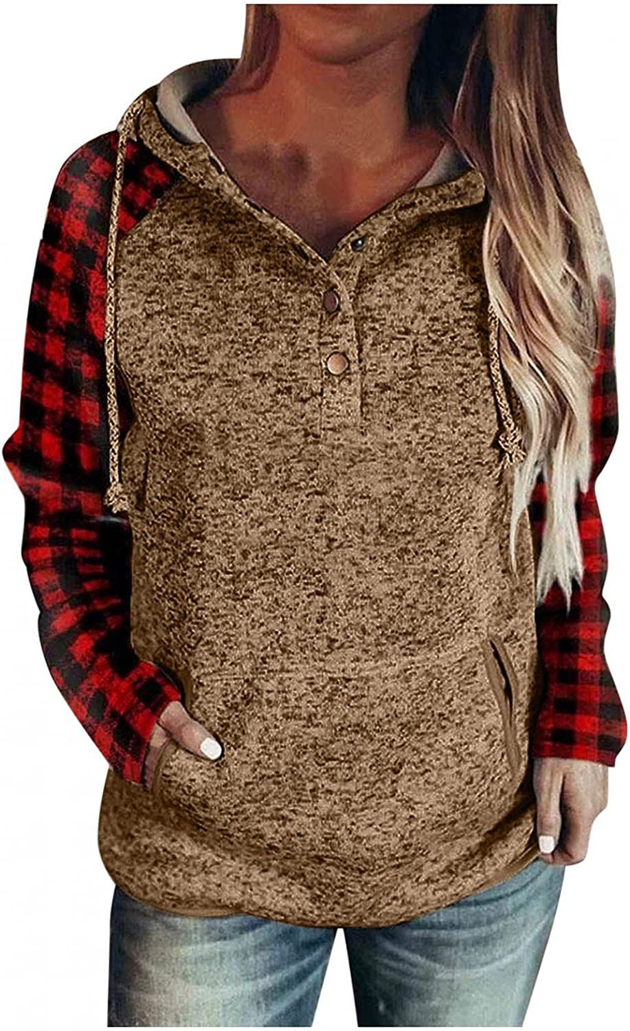 Hoodies for Womens, Women Hoodies Casual Splicing Lattice Long Sleeve Pullover Tops Fall Hooded Sweatshirts with Pocket