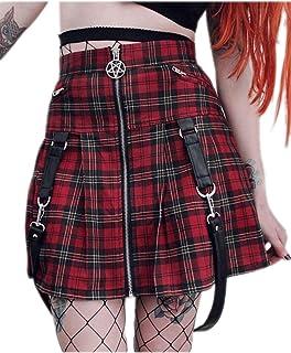 Donna Gothic Canottiera Top Corto Gilet Punk Catena Scozzese Camicia Zip