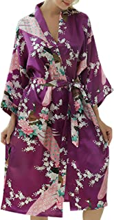 Elonglin Women's Dressings Gowns Long Bathrobe Kimono Sleepwear Imitation Satin Silk Sexy Fun Nightgown for Nightwear Girl...