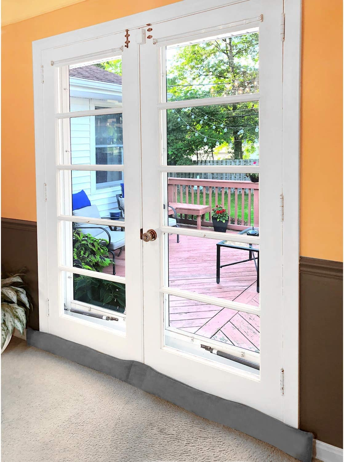 Bug Stopper Gray Noise Blocker Weighted Door and Window Breeze Guard HOME DISTRICT French Door Draft Dodger 60 Inches Long
