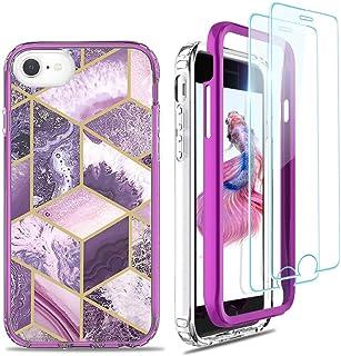 Jeylly - Funda para iPhone 6/6S / iPhone 7 / iPhone 8 / iPhone SE 2020 de mármol, [2 protectores de pantalla de cristal te...