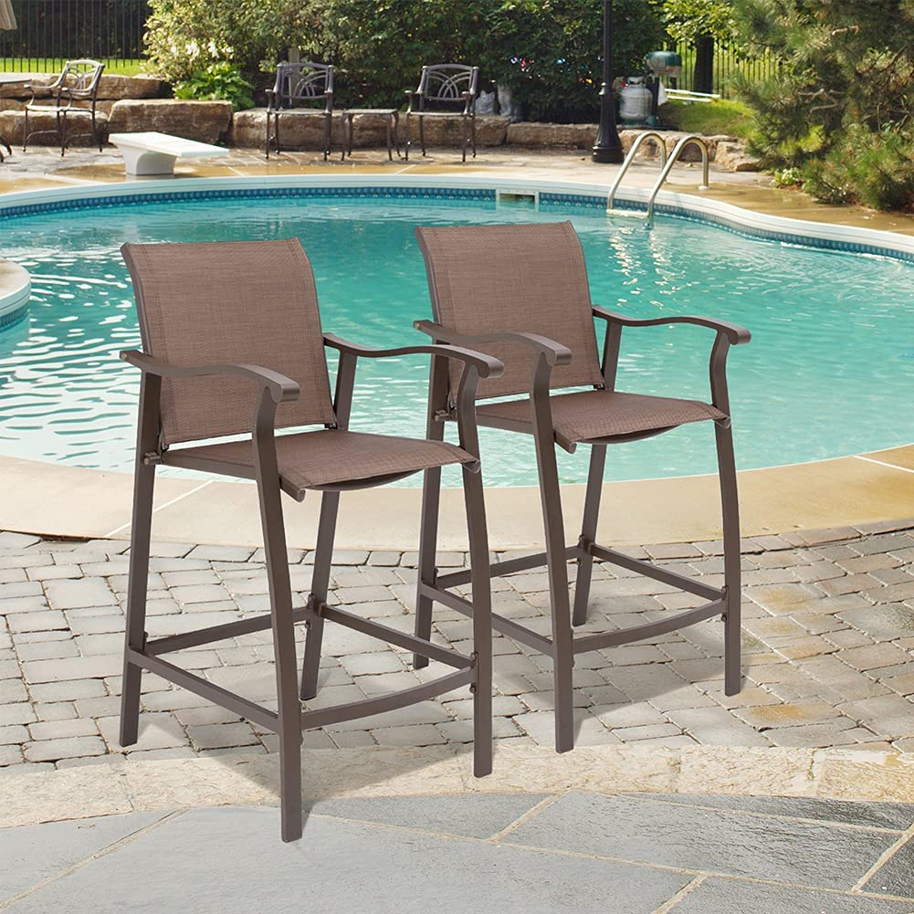 Crestlive Products Outdoor Counter Height Bar Stools Set of 2 Classic Patio Furniture Bar Chairs with Heavy Duty Aluminum Frame in Antique Brown Finish (Brown) : Patio, Lawn & Garden