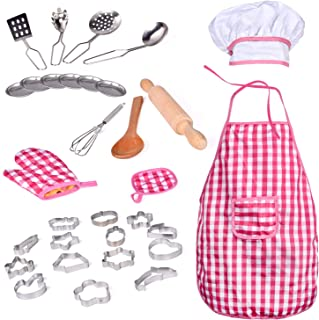 FUN LITTLE TOYS 32 PCs Chef Dress Up Clothes Little Girls, Play Kitchen Accessories Set Kids, Cooking Baking Tools, Pretend Play, Birthday Gifts