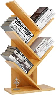 Bamboo Book Rack,Tree Bookshelf,Desktop Organizer Office Storage Rack,4-Tier Bookcase,Free-Standing CDs Holder Organizer, Multifunction Display Rack for Books,Magazines,CDs and Photo