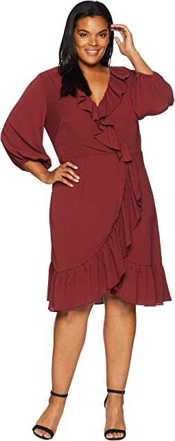 Plus Size Pebble Chiffon Faux Wrap Dress