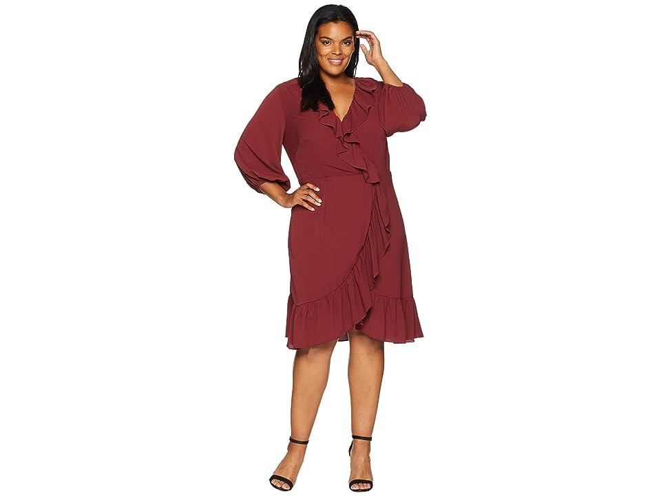 Adrianna Papell Plus Size Pebble Chiffon Faux Wrap Dress (Pale Mahogany) Women
