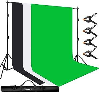 BDDFOTO 2x3m Estante de Fondo Ajustable,1.8x2.8m (3 Piezas) Telones de Fondo de Muselina de algodón, Soporte de Fondo y Ki...