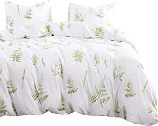 Wake In Cloud - Leaves Comforter Set, 100% Cotton Fabric with Soft Microfiber Fill Bedding, Green Plant Tree Leaf Pattern Printed on White (3pcs, Queen Size)