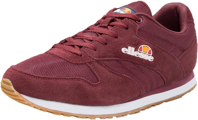 Ellesse Mens Runner Suede Leather Low Trainer Sneakers Burgundy UK 11