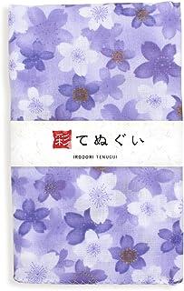 彩(irodori) ガーゼ手ぬぐい 大桜 パープル 紫 和調色 二重袷 ほつれ防止加工 約32×88cm