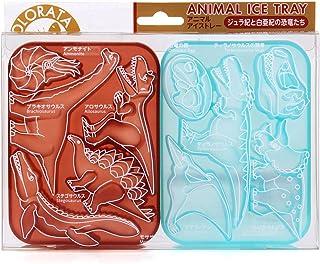 カロラータ アニマル アイストレー (恐竜) シリコン チョコレート 型 [食洗機可能] ジュラ紀と白亜紀の恐竜たち 約10×13.5×2.8cm