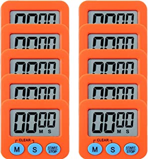 10 Pack Small Mini Digital Kitchen Timer Magnetic Countdown Up Minute Second Timer (10 Orange)