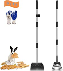 Niubya Poop Scooper for Dogs, Tray and Rake Set with Adjustable Long Handle Metal for Pet Waste Removal, 2 Pack, Black