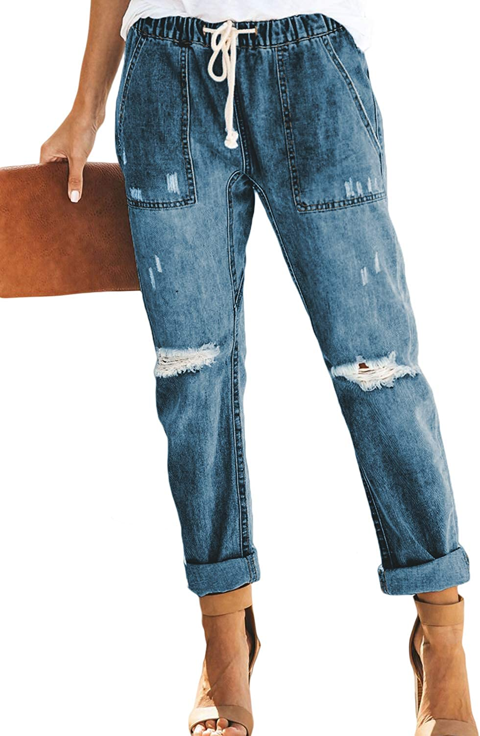 Women S Casual Vintage Wash Loose Fit Ripped Elastic Cuff Junior Jogger Jeans Pants At Amazon Women S Jeans Store Do you know where has top quality loose fit jeans women at lowest prices and best services? women s casual vintage wash loose fit ripped elastic cuff junior jogger jeans pants