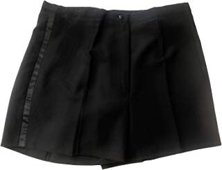 Women's Black Tuxedo Shorts with Satin Side Stripes