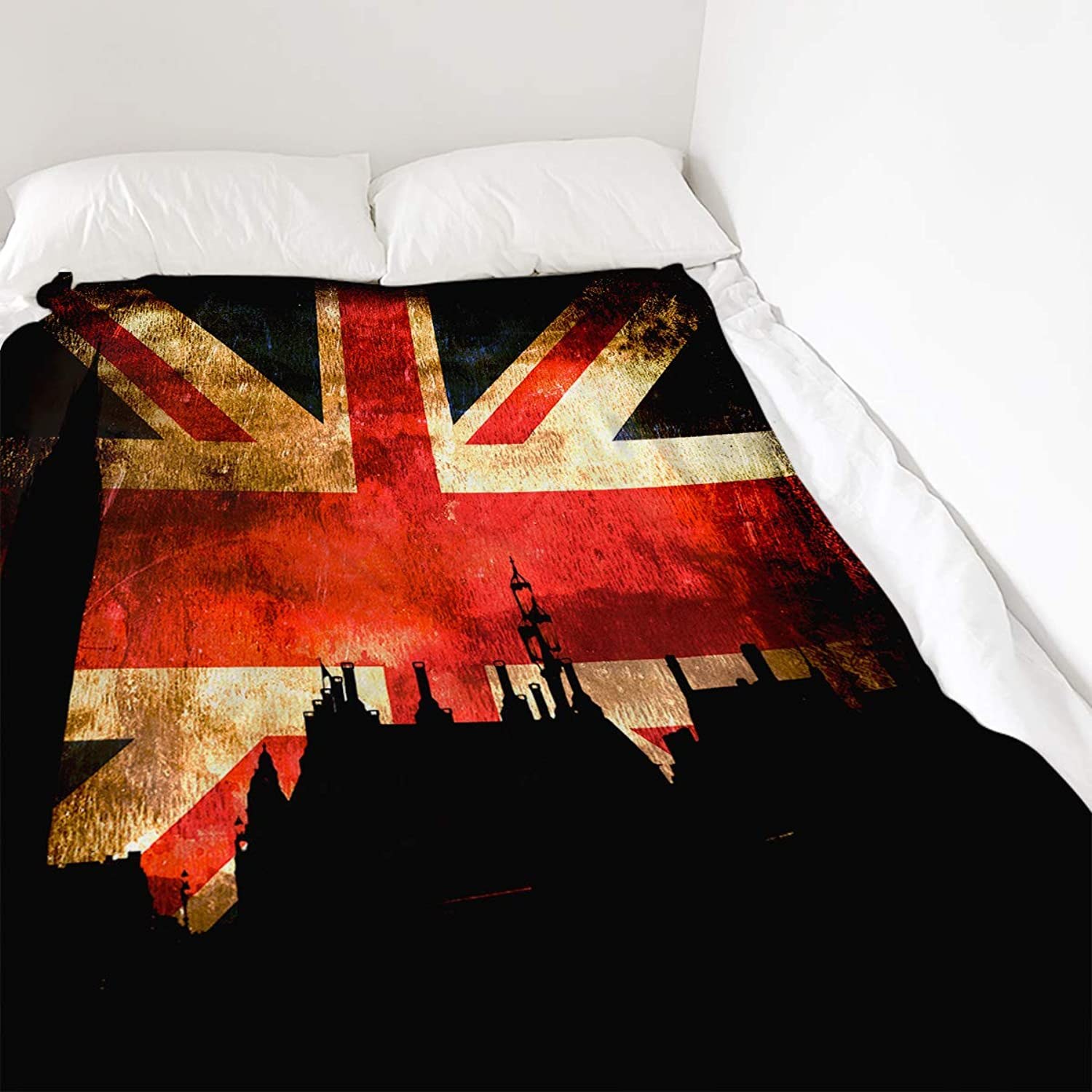COLORSUM Retro Soft Plush Throw Blanket 50x80 inch Printed Flannel Fleece Blanket for Bedroom Living Room Couch Bed Sofa  London England Landscape with British Flag