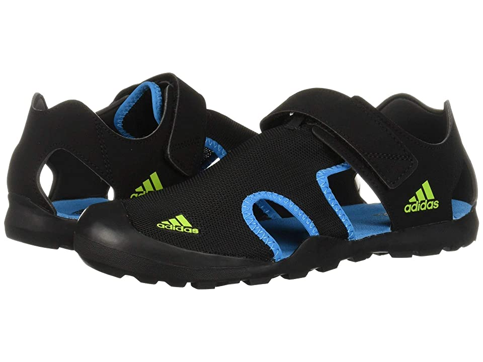 Image of adidas Outdoor Kids Captain Toey (Toddler/Little Kid/Big Kid) (Black/Shock Cyan/Semi Solar Slime) Boys Shoes
