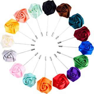 Panfanrel 16 Pieces Flower Men`s Lapel Pins Handmade Satin Boutonniere Pin for Suit Wedding Groom with a Box(Multicolor 1), Medium