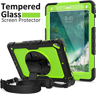 iPad 6th Generation Cases Kids, New iPad 2017 Case, [iPad 6th Generation Screen Protector] Ambison Full Body Protective Case with Pencil Holder, 360° Rotatable Kickstand & Hand Strap (Green & Black)